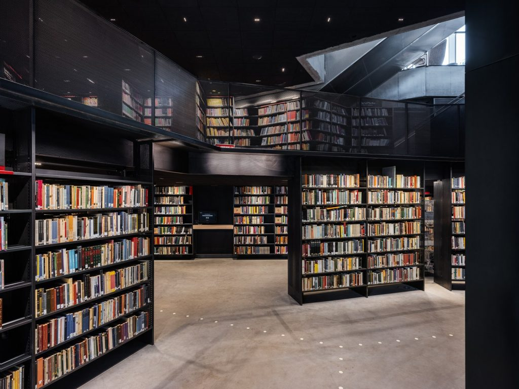 Throughout the library's six floors, there are 450,000 books, as well as a theater and a podcast studio.