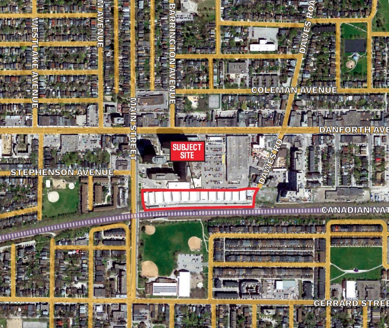 Site of the proposed development, image via submission to City of Toronto